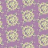 motif floral sans soudure. fleur de lys jaune bouquet fond violet pastel. texture transparente florale avec des fleurs. papier peint carrelé ornemental pastel vecteur