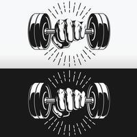 Silhouette punch holding gym fitness haltères pochoir dessin vectoriel ensemble