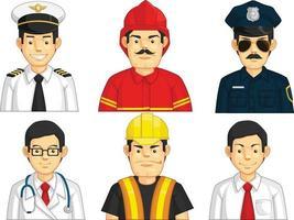 dessin animé, ouvrier du bâtiment, docteur, pilote, police, avatar, mascotte, dessin, ensemble vecteur