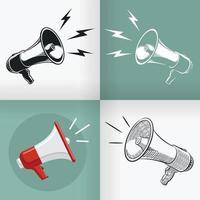 Haut-parleur silhouette mégaphone doodle jeu de dessin vectoriel design plat