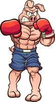 cochon de boxe fort vecteur