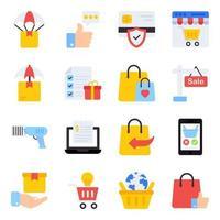 pack d'achat d'icônes plates vecteur