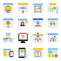 pack d'icônes plates de développement web vecteur