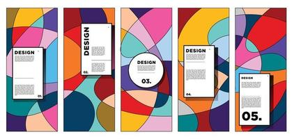 modèle de conception de bannière verticale de vecteur avec fond géométrique abstrait coloré