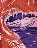 Formations de calcite ou de coffrage et givre dans le parc national de la grotte du vent situé dans les sources chaudes du Dakota du Sud art de l'affiche wpa vecteur