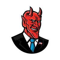 diable, sourire, porter, costume affaires, mascotte vecteur