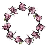 guirlande, cadre rond de fleurs de magnolia, silhouette de fleurs épanouies. printemps, design floral pour cartes, invitations, emballage vecteur