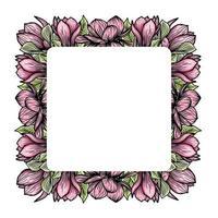 guirlande, cadre carré de fleurs de magnolia, silhouette de fleurs épanouies. printemps, design floral pour cartes, invitations, emballage vecteur