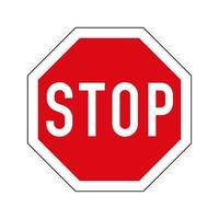 variante européenne du panneau de signalisation d'arrêt. octogone rouge avec bordure blanche et texte d'arrêt. vecteur