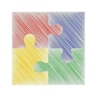 illustration de croquis de vecteur de puzzle coloré. eps 10. convient aux présentations et aux diagrammes.
