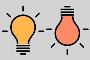 l'ensemble de deux lampes allumées. le symbole des idées et de la pensée créative, l'emphase, une offre avantageuse. ampoule icône vecteur eps10.
