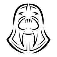 dessin au trait noir et blanc de la tête de morse. bon usage pour le symbole, la mascotte, l'icône, l'avatar, le tatouage, la conception de t-shirt, le logo ou tout autre design que vous souhaitez. vecteur