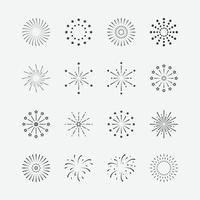 illustration vectorielle de jeu d'icônes de feu d'artifice. symboles de célébration vecteur