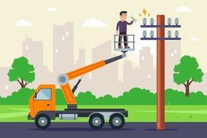 un spécialiste effectue des réparations sur des câbles haute tension dans un camion avec ascenseur. réparation d'un poteau avec électricité. illustration vectorielle plane. vecteur