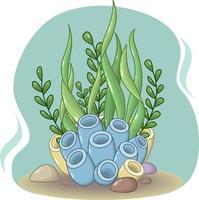 Composition de vecteur de coraux de mer bleus et jaunes, pierres et nombreuses algues vertes sur fond turquoise