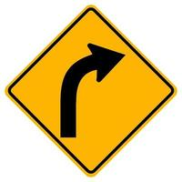 Panneaux d'avertissement courbe vers la droite sur fond blanc vecteur