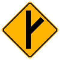 Panneaux d'avertissement intersection de route latérale biaisée à droite sur fond blanc vecteur