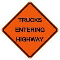 camions entrant signe de symbole de trafic routier isoler sur fond blanc, illustration vectorielle vecteur