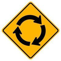Panneaux d'avertissement rond-point devant sur fond blanc vecteur