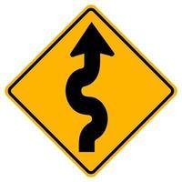 Panneaux d'avertissement route sinueuse, premier virage à droite sur fond blanc vecteur