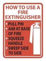 Comment utiliser le signe de l'extincteur sur fond blanc vecteur