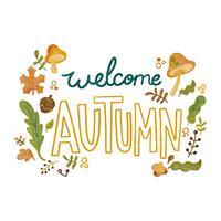 Éléments d'automne mignons comme les feuilles, les champignons et les branches avec lettrage