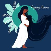 Heureuse femme afro enceinte tenant son ventre vecteur