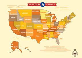 Beau Vintage Graphic Vector USA Carte États-Unis d'Amérique