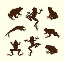collection de silhouette de grenouilles de vecteur