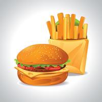 Délicieux hamburgers au bœuf, à la tomate, au fromage et à la laitue vecteur