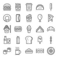 jeu d'icônes de restauration rapide vecteur