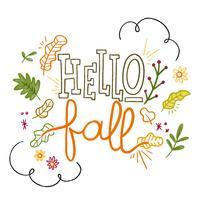 Lettrage sur l'automne avec des feuilles, des fleurs et des branches autour