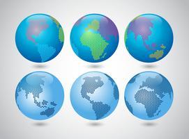 Globe avec style de points modernes vecteur