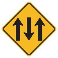 Panneaux d'avertissement route à trois voies sur fond blanc vecteur