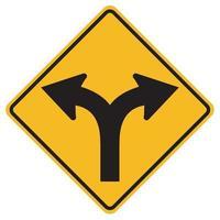 panneaux d'avertissement tourner à gauche ou à droite sur fond blanc vecteur