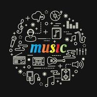 lettrage dégradé coloré de musique avec des icônes de ligne