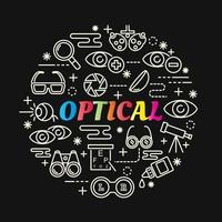lettrage dégradé coloré optique avec des icônes de ligne vecteur