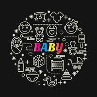 lettrage dégradé coloré bébé avec des icônes de ligne vecteur