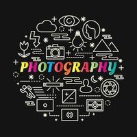 photographie lettrage dégradé coloré avec des icônes de ligne vecteur