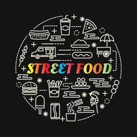 lettrage dégradé coloré de nourriture de rue avec des icônes de ligne vecteur