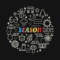 lettrage dégradé coloré de saison avec des icônes de ligne vecteur