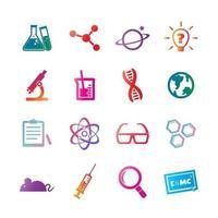 icônes de gradient de vecteur de science