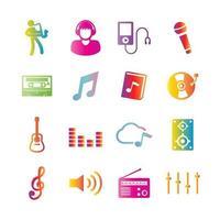 icônes de dégradé de vecteur de musique