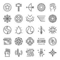 icônes parfaites de super-héros pixel vecteur