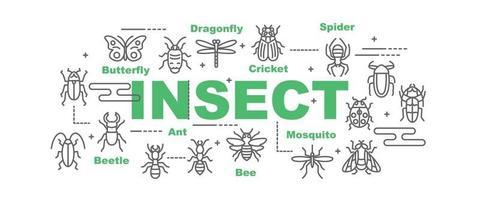 bannière de vecteur insecte