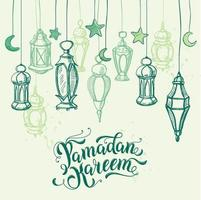 lettrage de calligraphie ramadan kareem. lampes arabes, croquis de lanternes suspendues. carte de dessin à la main, affiche, fond pour le ramadan vecteur