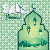 illustration vectorielle vente de ramadan. bannière, remise, étiquette, vente, carte de voeux, du ramadan kareem vecteur