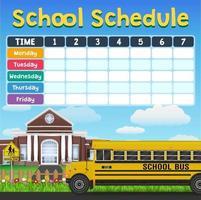 calendrier de l & # 39; école avec des articles pour les élèves vecteur