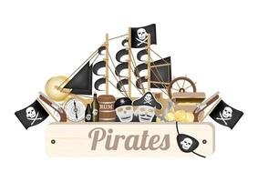 planche de bois pirate avec bateau pirate, boussole, pièce d'or, baril de rhum, boîte au trésor, drapeau, pistolet, cache-oeil vecteur