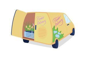 Camionnette de livraison de fleurs avec objet vectoriel de couleur plat coffre ouvert